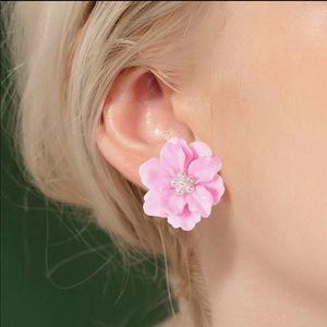 NEW CUTE PINK FLOWERS STUD EARRINGS